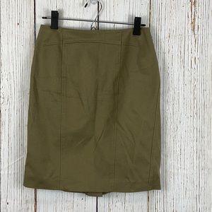 Ann Taylor Army Green Canvas Pencil Skirt